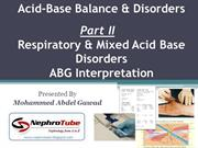Acid Base Balance & Disorders - Part II