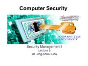 CPS3498 - Computer Security  - Lec 9 - Security Management I