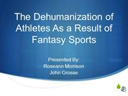 The Dehumanization of Athletes As a Result of