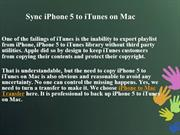 Sync iPhone 5 to iTunes on Mac