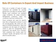 Role Of Containers In Export And Import Business