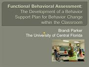 Conference Proposal- The Development of a Behavior Support Plan for