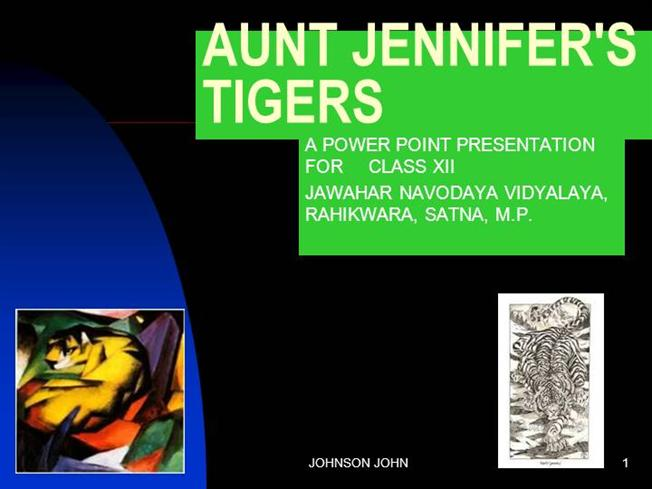 summary of aunt jennifers tigers