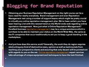 Blogging for Brand Reputation