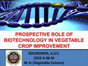 Role of biotechnology in Veg. Improvement