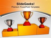SPORTS TROPHIES ON PODIUM WINNER COMPETITION PPT TEMPLATE