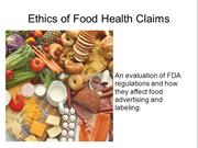 Kysh, Cheryl Food Health Claims