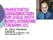 Anaesthesia for child with Down syndrome
