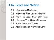 Phys1110Ch2-Force&Motion