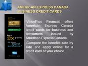 AMERICAN EXPRESS CANADA BUSINESS CREDIT CARDS