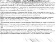 Henderson Properties to host Free Webinar on IRA Investments
