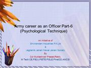Army career as an Officer Part6(Psychological Technique)