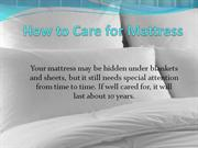 How to Care for Mattress