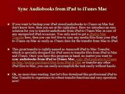 How to Sync Audiobooks from iPad to iTunes Mac