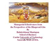 Managerial Effectiveness from the Perspectives of Bhagwad Gita
