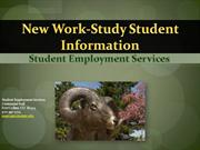 New Work-Study Student Information Session (not year specific)