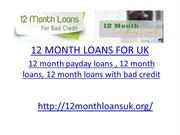 12 MONTH LOANS FOR UK