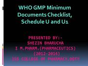 WHO GMP Minimum document checklist and Schedule U