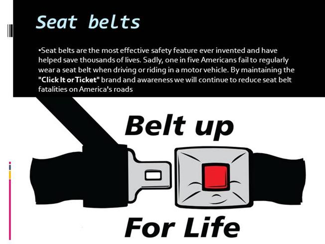 essay on seat belt safety Wearing a seat belt, it is such an easy task however, every day people choose not to wear it when you think about it, it is absolutely amazing that a piece of fabric can be the difference between life and death.