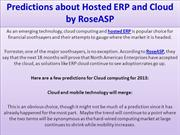 Predictions about Hosted ERP and Cloud by RoseASP