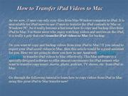 How to Transfer iPad Videos to Mac