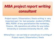 MBA project report writing consultant