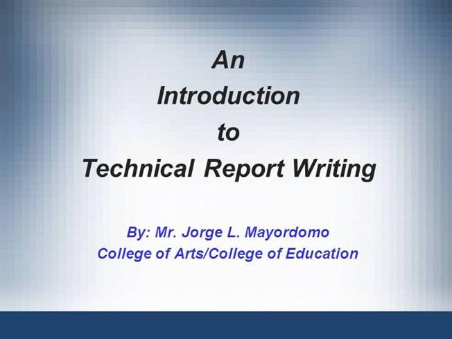 1. Introduction to Technical Report Writing |authorSTREAM