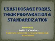 UNANI DOSAGE FOAMS, THEIR PREPARATION & STANDERDIZATION
