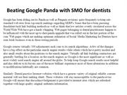 Beating Google Panda with SMO for dentists
