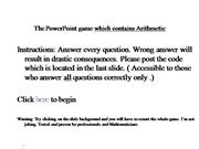 The powerpoint game which contains math