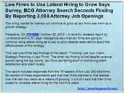 Law Firms to Use Lateral Hiring to Grow Says Survey, BCG Attorney Sear