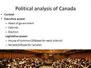 Political analysis of Canada