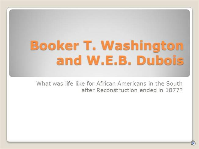 Booker T Washington Vs Web Dubois Authorstream