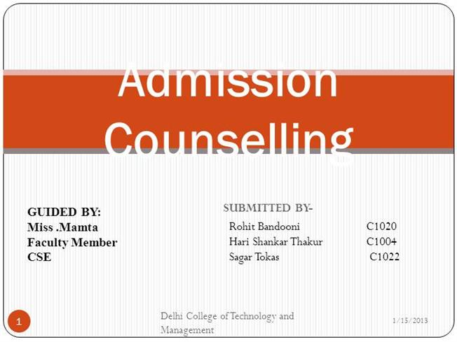 Admission counselling system authorstream ccuart Image collections
