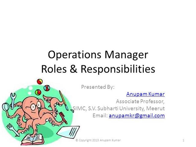 Role  Responsibilities Of Operations Manager Authorstream