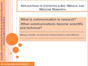 Biostatistics and Scientific and Technical Communications in Medicine