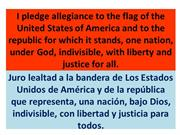 The pledge of Allegiance in English and Spanish