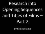 Research Into the Opening Sequences of Three Films