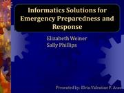 CHAPTER 25- Informatics Solutions for Emergency Preparedness and Respo