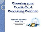 Choosing your Credit Card Processing Provider