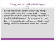 energy conservation techniques,green conservation Company.