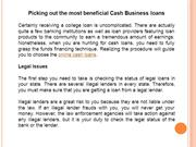 Picking out the most beneficial Cash Business loans