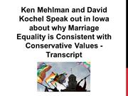 Ken Mehlman and David Kochel Speak out in Iowa about why Marriage Equa
