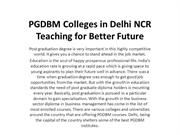 PGDBM Colleges in Delhi NCR Teaching for Better Future
