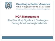 HOA Management: The Five Most Significant Challenges Facing American