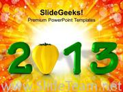 2013 NEW YEAR CONCEPT WITH CAPSICUM FOOD POWERPOINT TEMPLATE