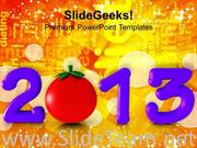 2013 NEW YEAR CONCEPT WITH CAPSICUM HEALTH POWERPOINT TEMPLATE