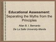 Educational Assessment           Dr. Allan B.I. Bernardo