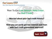 Bad credit car loans with Low Interest Rates