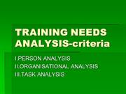 TRAINING NEEDS ANALYSIS--criteria